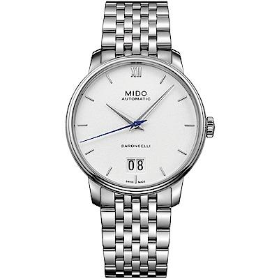 MIDO美度 BARONCELLI III 永恆系列大視窗機械男錶-白/40mm