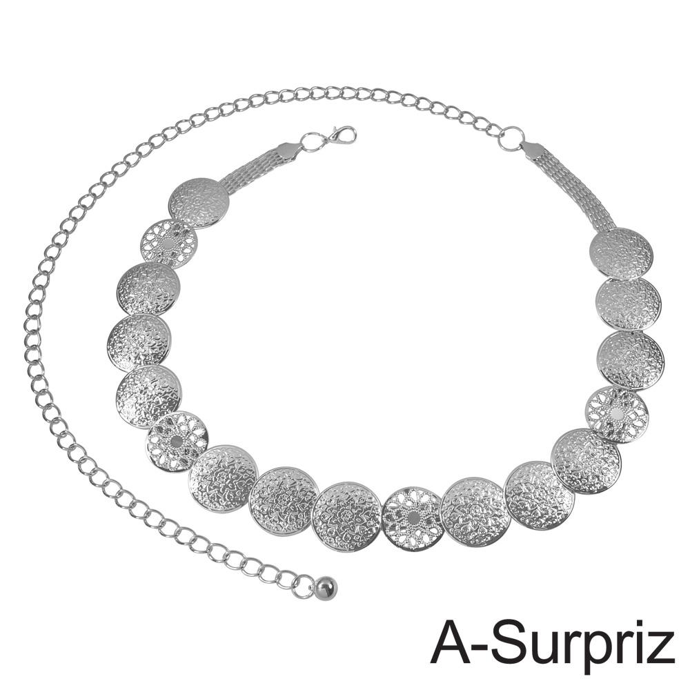 A-Surpriz 雕花圓片拼接金屬腰鍊(銀)
