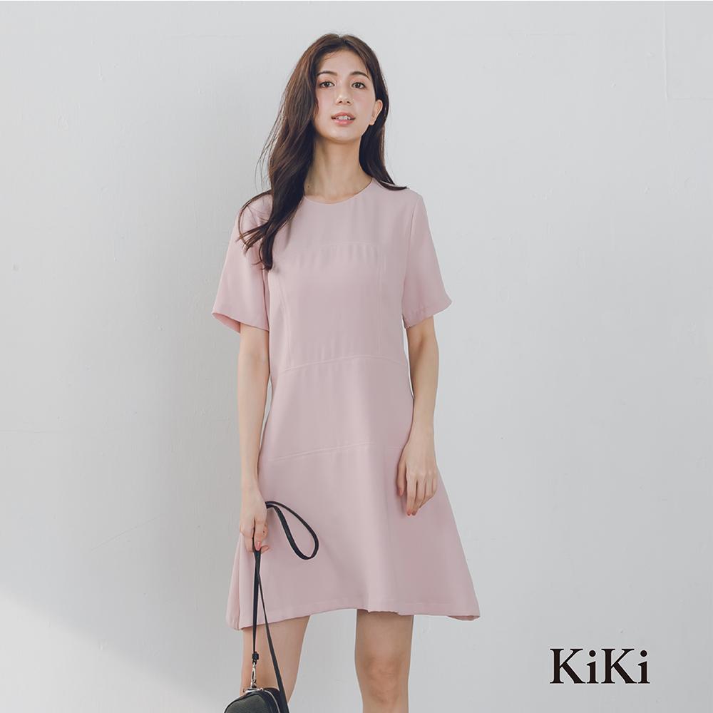 【KiKi】簡約剪裁雪紡-洋裝(粉色)