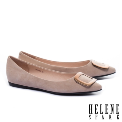 平底鞋 HELENE SPARK 時尚質感茶金方釦全真皮尖頭平底鞋-粉