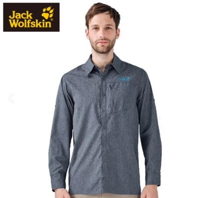 【Jack Wolfskin 飛狼】男 長袖排汗襯衫『深灰』