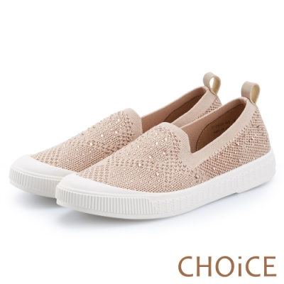 CHOiCE 華麗運動風 水鑽針織布面厚底休閒鞋-裸色