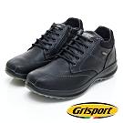 Grisport 義大利進口-綁帶拉鍊厚底真皮休閒鞋-黑色