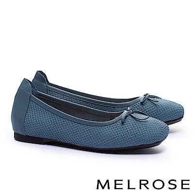 娃娃鞋 MELROSE 經典百搭素雅接蝴蝶結全真皮平底娃娃鞋-藍