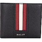 BALLY TONETT 經典紅白條紋黑色證件卡層對折皮夾