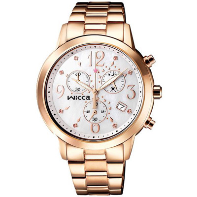 WICCA 柔情星彩三眼晶鑽時尚腕錶(BM1-261-13)-37mm