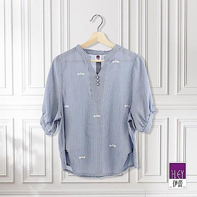 ILEY伊蕾 蜜蜂刺繡條紋V領上衣(藍)