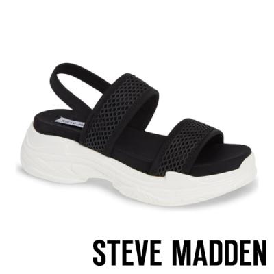STEVE MADDEN-SUBLIME 輕鬆街頭布面寬帶厚底涼鞋-黑色