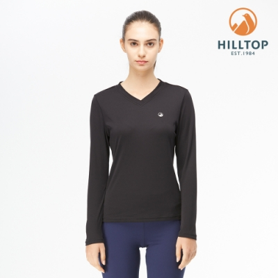 【hilltop山頂鳥】女款THERMOLITE保暖吸濕快乾V領長袖衛生衣H56F83黑美人