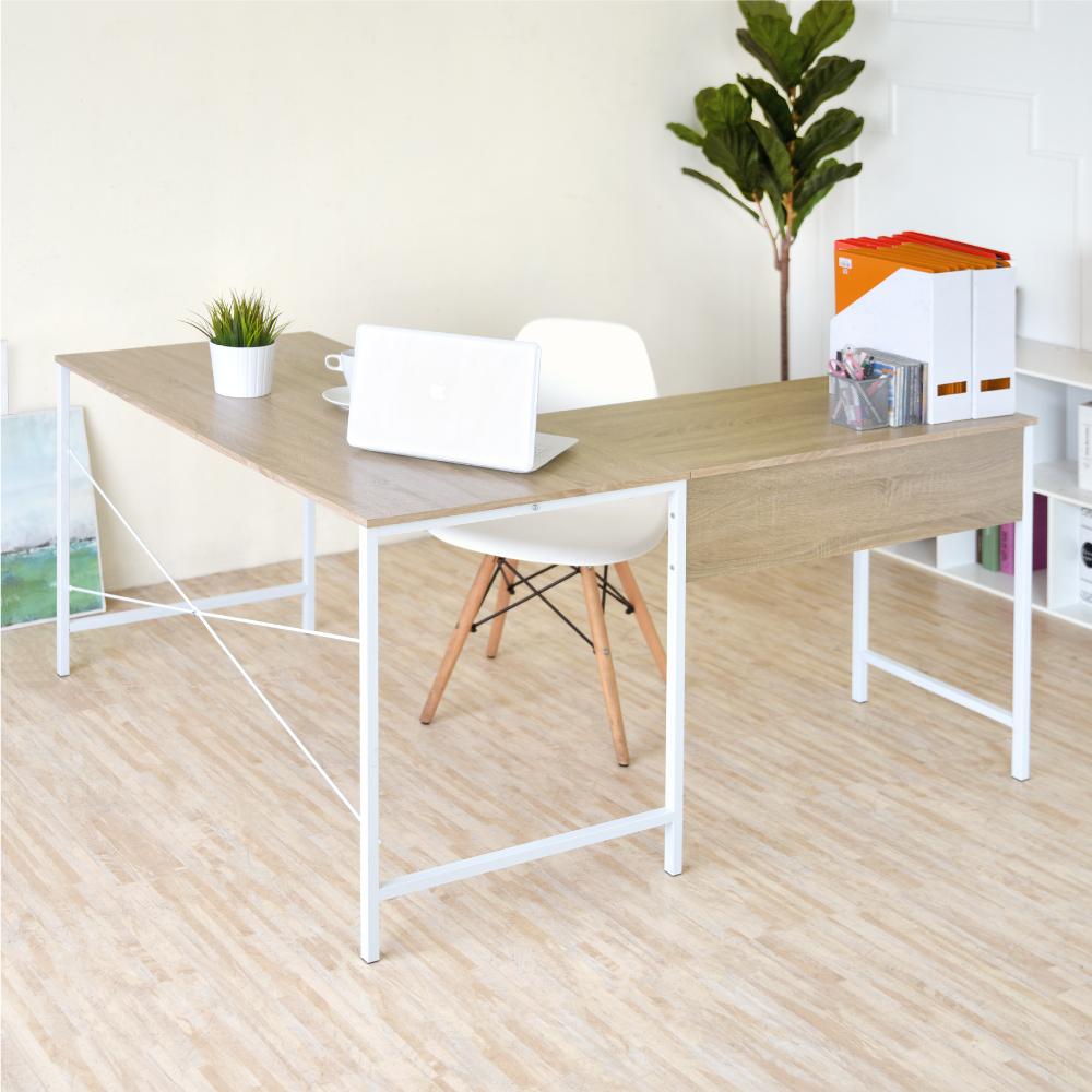《HOPMA》DIY巧收加工業風L型工作桌/書桌-寬121 x深141 x高75cm