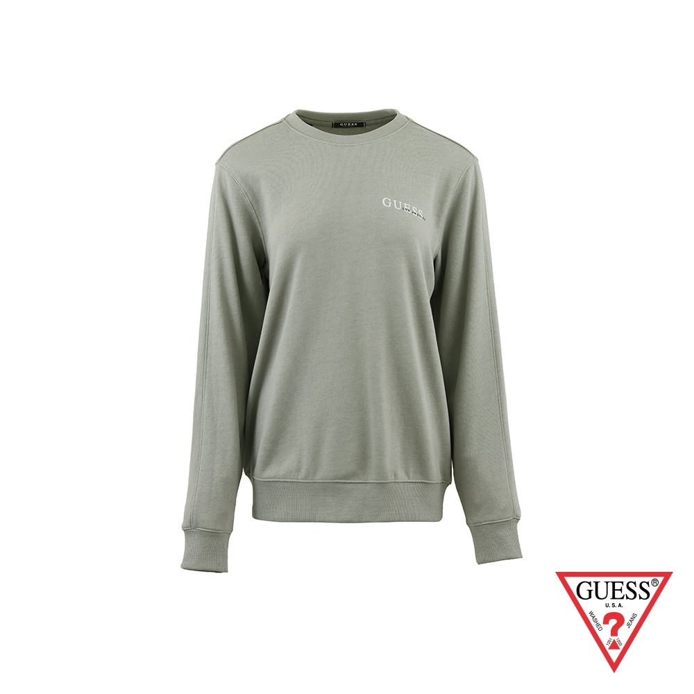 GUESS-男裝-純色字母LOGO大學T-卡其灰 原價2990