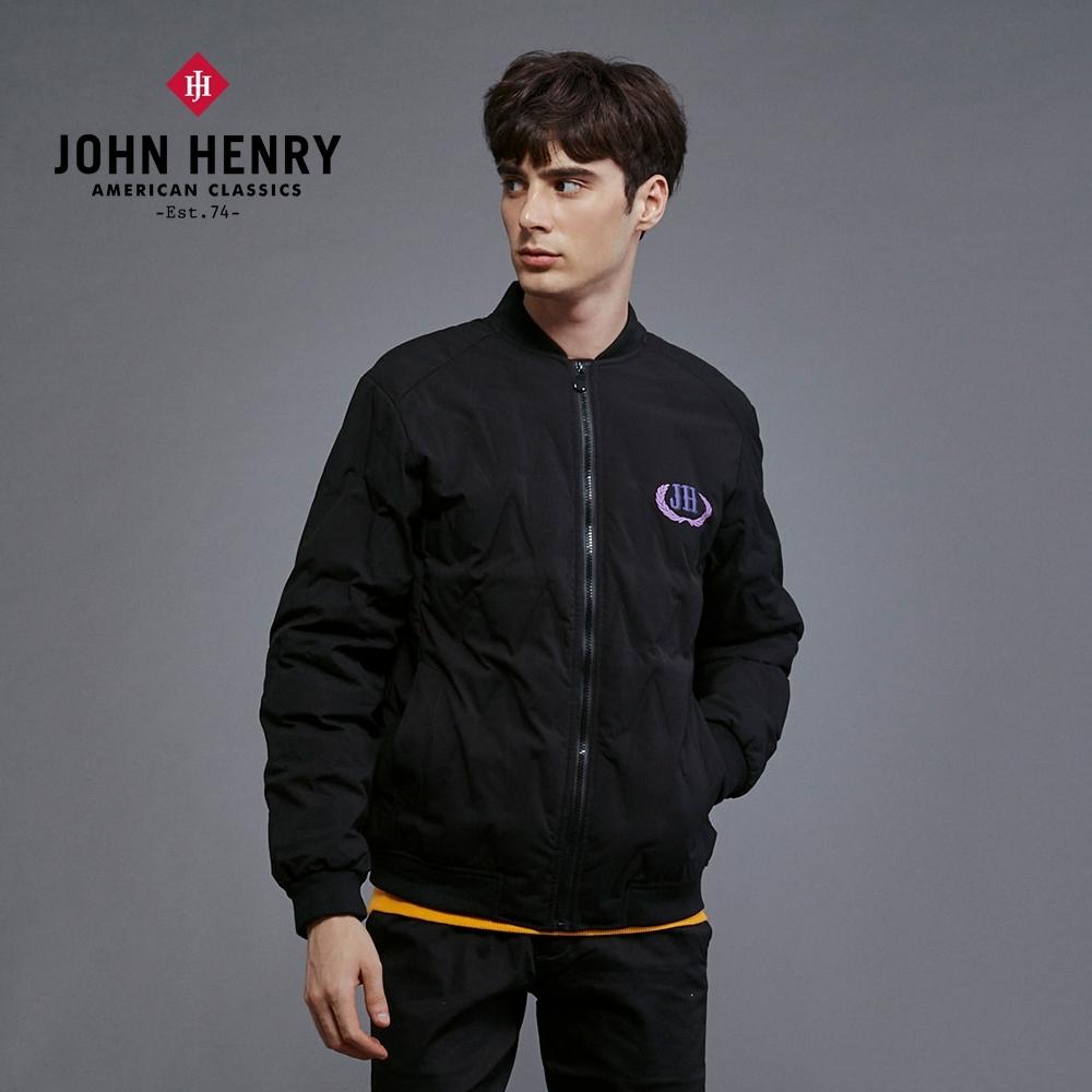 【JOHN HENRY】修身菱形壓紋夾克外套-黑