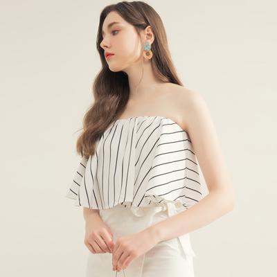 AIR SPACE 知性條紋平口領片綁帶裙套裝(白)