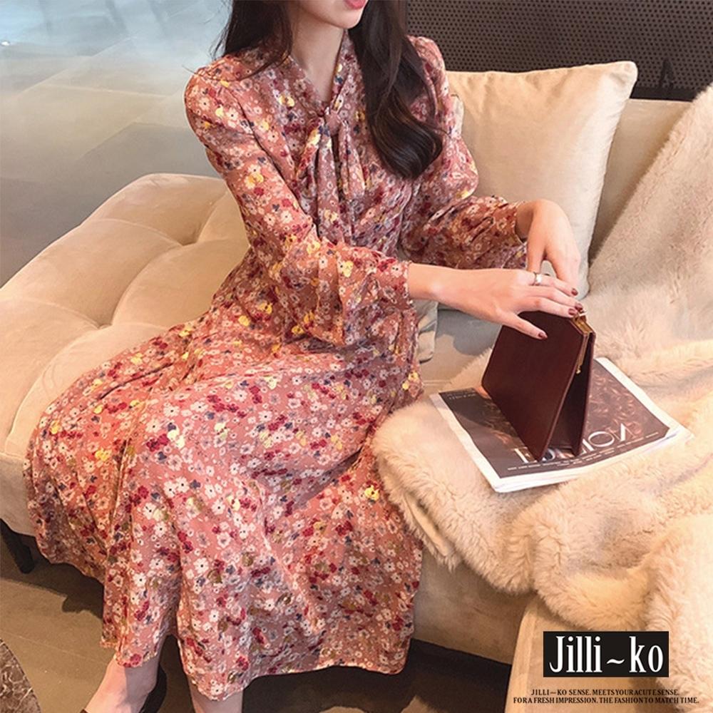 JILLI-KO 歐式復古碎花雪紡連衣裙- 粉紅/黑