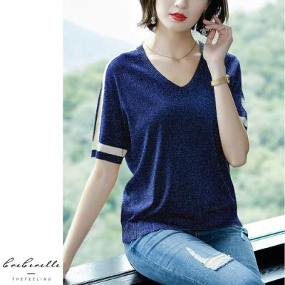 2F韓衣-韓系V領薄寬鬆造型上衣-4色-認(F)
