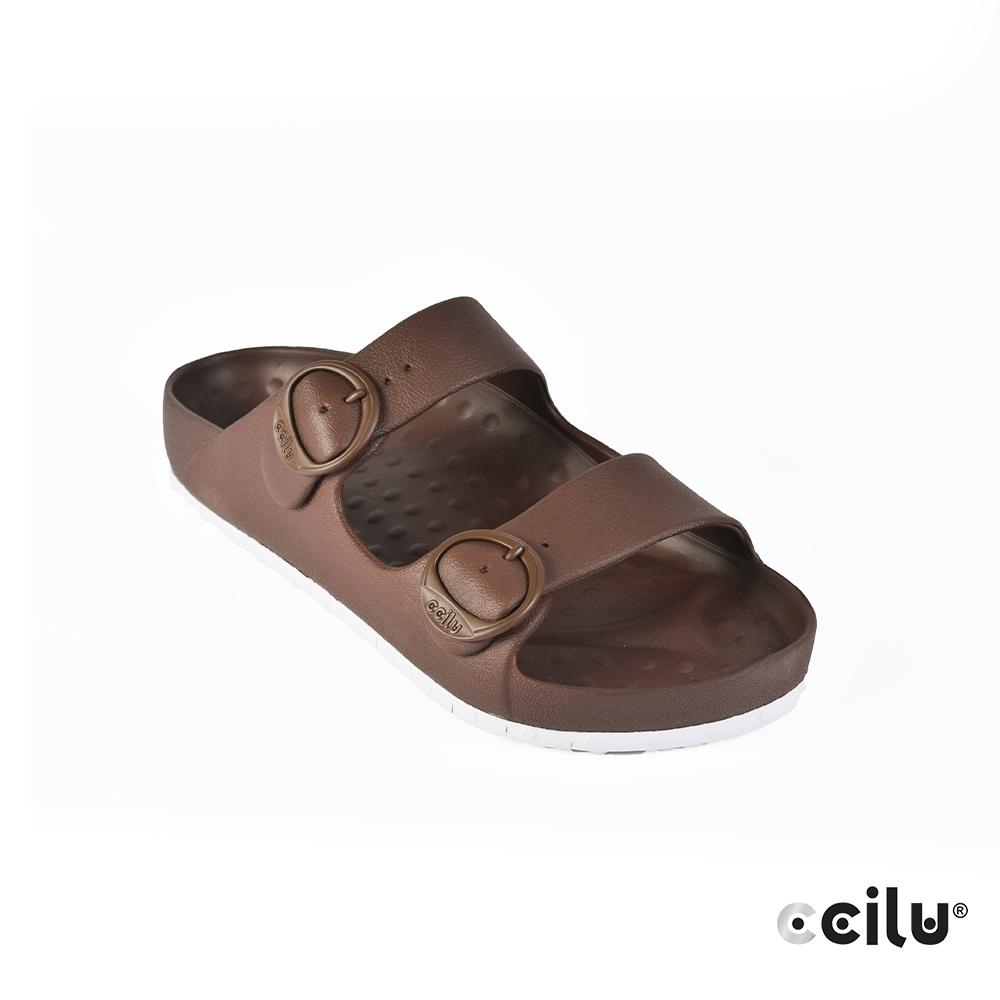 CCILU 經典雙帶防水拖鞋-男款-301264092咖啡色