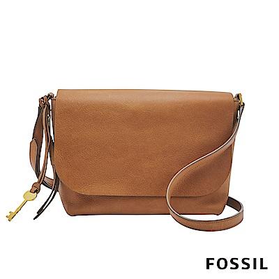 FOSSIL MAYA 俐落簡約真皮斜背包-駝色