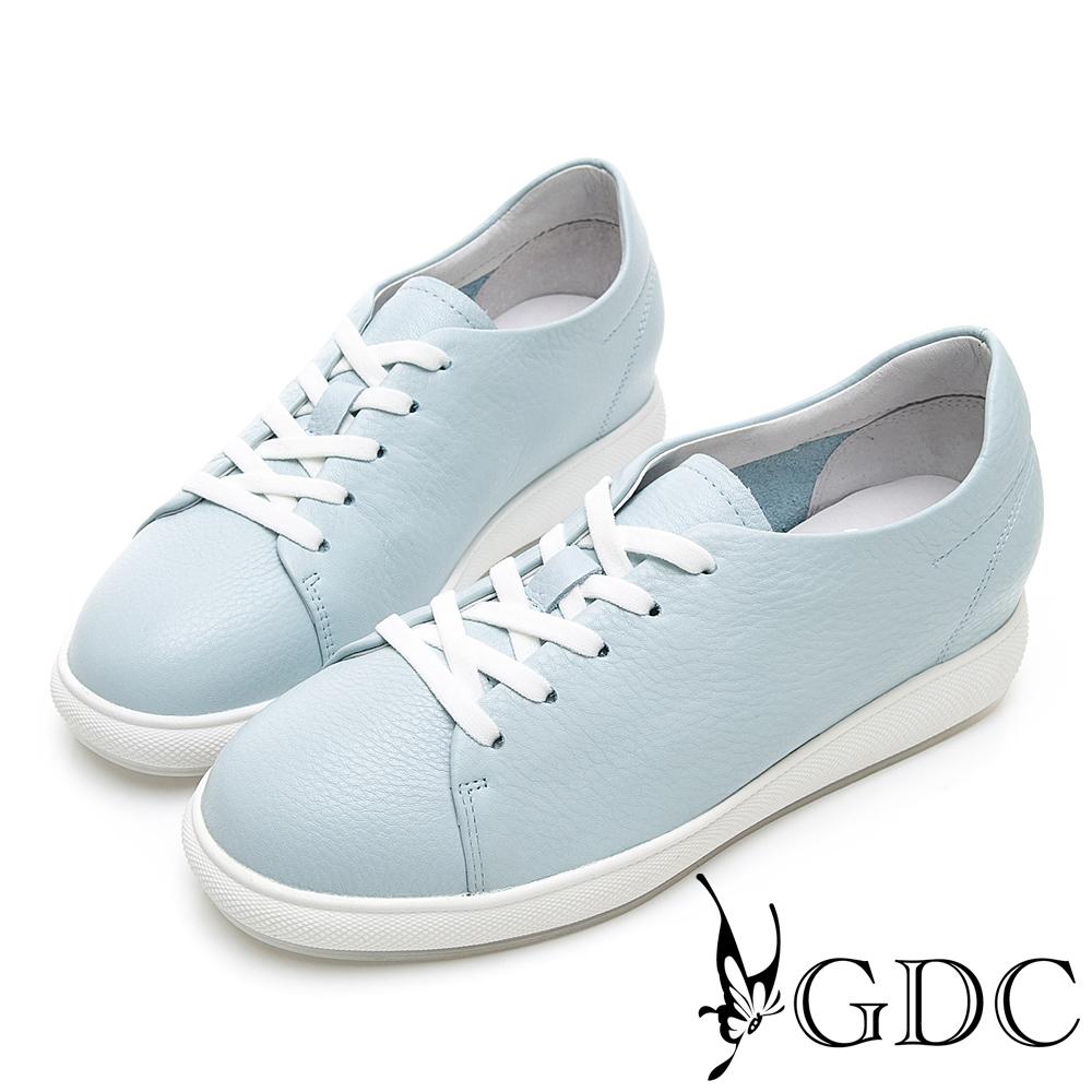 GDC-青春真皮素色馬卡龍百搭綁帶休閒鞋-藍色