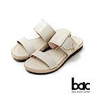 bac繽紛曼谷 -原色感大飾釦麻邊底台一字帶平底托鞋-白色