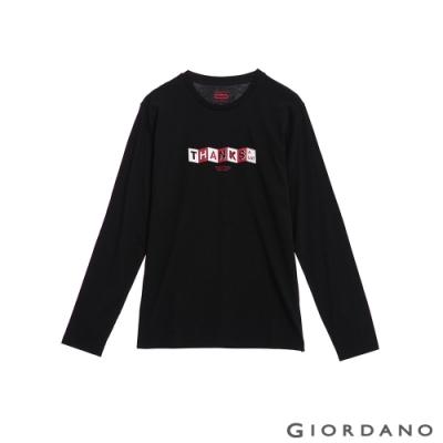 GIORDANO 男裝Always Be Thankful印花長袖T恤-01 標誌黑