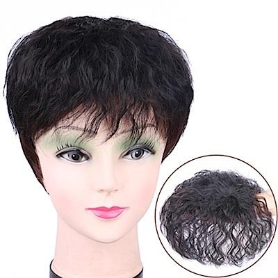 米蘭精品 假髮片真髮絲-短捲髮15cm髮頂補髮女假髮母親節禮物3色73us41