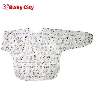 【任選】娃娃城BabyCity-防水長袖畫畫衣(3-5A) 米色狗