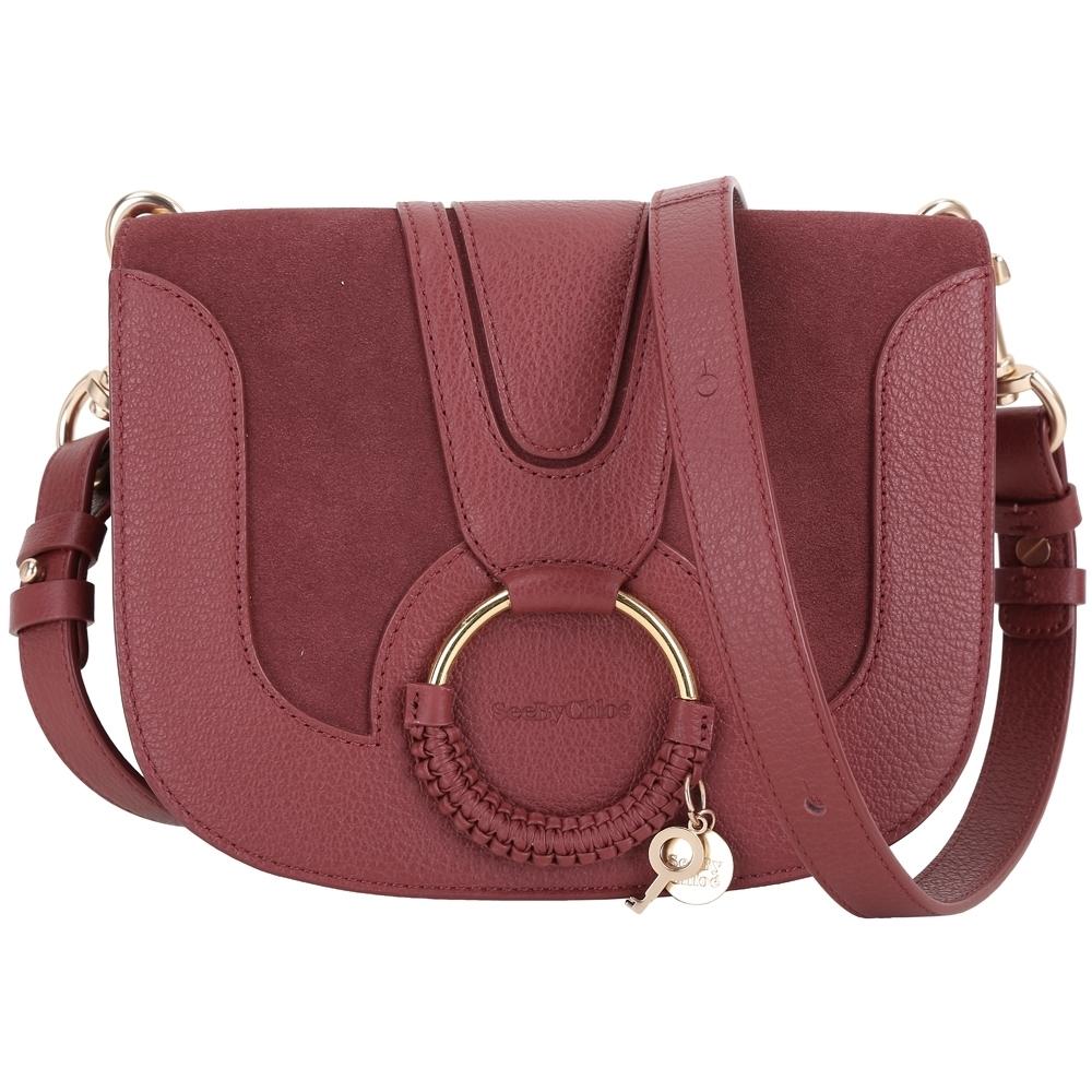SEE BY CHLOE HANA 小款 編織金屬圈麂皮拼接手拿/肩背包(紅梨色)