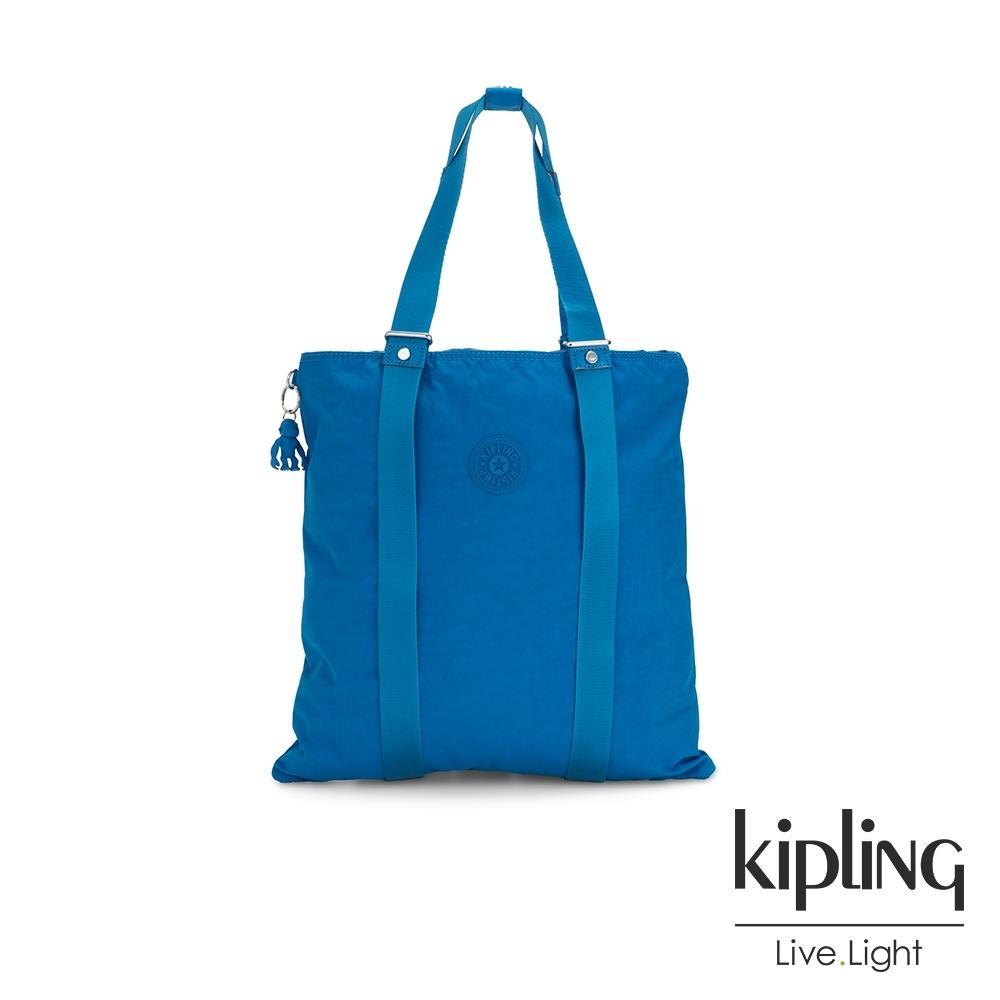 Kipling 復古趣味藍色大容量手提帆布包-LOVILIA