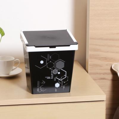 創意達人梅格兩段掀蓋式垃圾桶2.5L-3入組