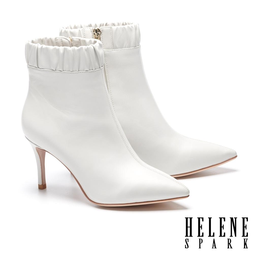 短靴 HELENE SPARK 極簡素色全真皮尖頭高跟短靴-白