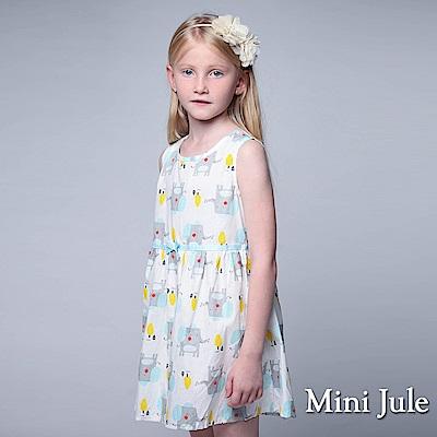 Mini Jule 童裝-洋裝 大象小屋印花後拉鍊無袖洋裝(藍)