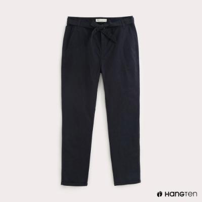 Hang Ten-女裝腰帶綁結TAPERED FIT九分褲-藍