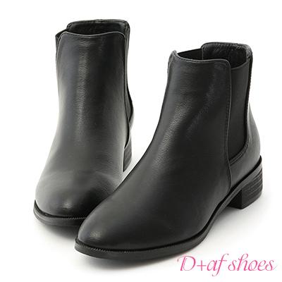 D+AF 型人必備.鬆緊帶拼接低跟短靴*黑