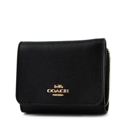COACH 素面防刮皮革三折零錢袋短夾-黑色