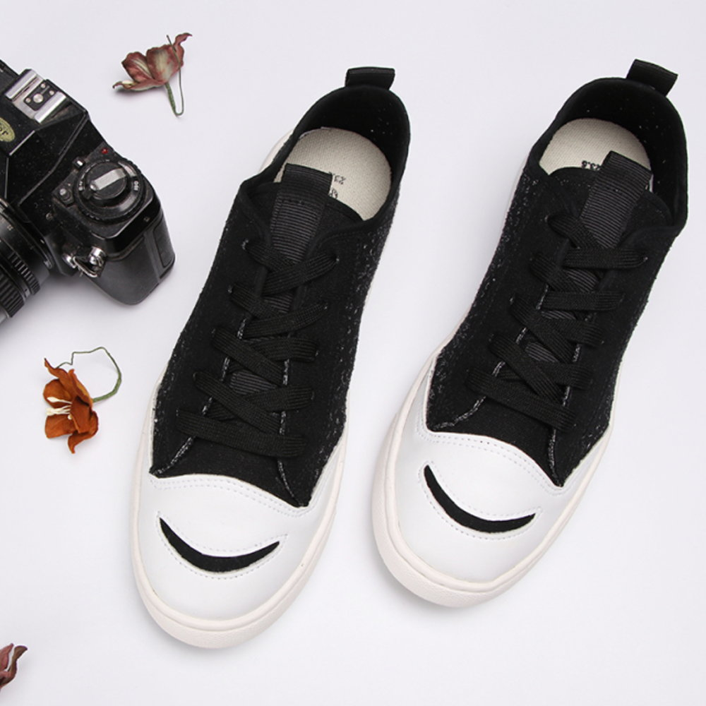 BuyGlasses 微笑透氣花紋休閒鞋-白