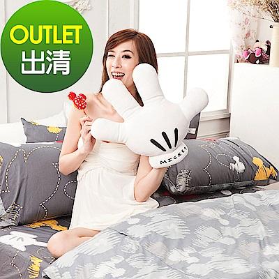 戀家小舖 / 單人床包枕套組  米奇塗鴉  100%精梳棉  台灣製