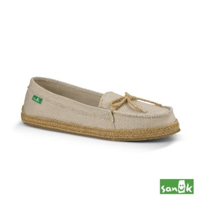 SANUK 女款 US7 復古草編綁帶娃娃鞋(米色)