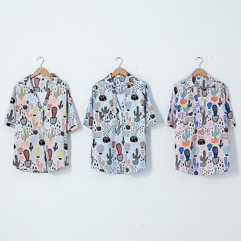 【DAILO】夏日仙人掌-上衣(三色)