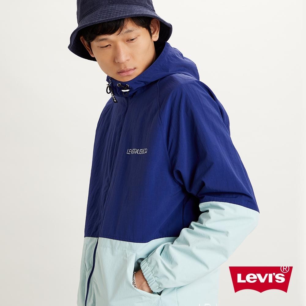Levis 男款 口袋風衣連帽外套 希臘藍拼接