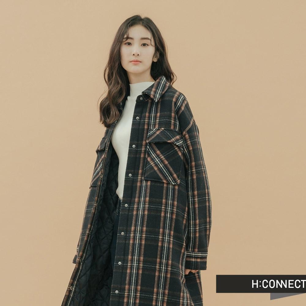 H:CONNECT 韓國品牌 女裝-格紋長板羊毛外套-藍