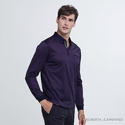ROBERTA諾貝達 台灣製 紳士品味 合身版 雙扣長袖POLO棉衫  深紫