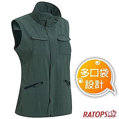 瑞多仕 女款 輕量休閒多口袋背心(拉鍊長版款)._DA2386 軍綠麻灰色