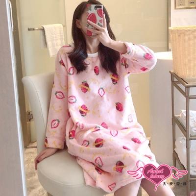 保暖睡衣 草莓星球 法蘭絨一件式長袖連身睡裙(粉F) AngelHoney天使霓裳