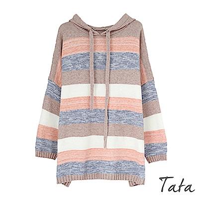 寬鬆橫條紋連帽針織上衣 TATA