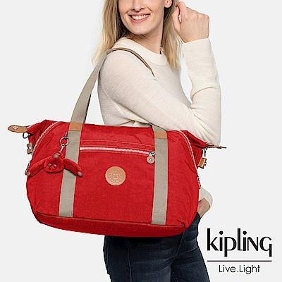 Kipling 亮眼紅撞色手提側背包-ART-ESSENTIAL系列