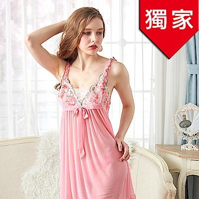 睡衣 微透彈性雪紡紗性感睡衣 清新春天(R86001-2粉)台灣製造 蕾妮塔塔