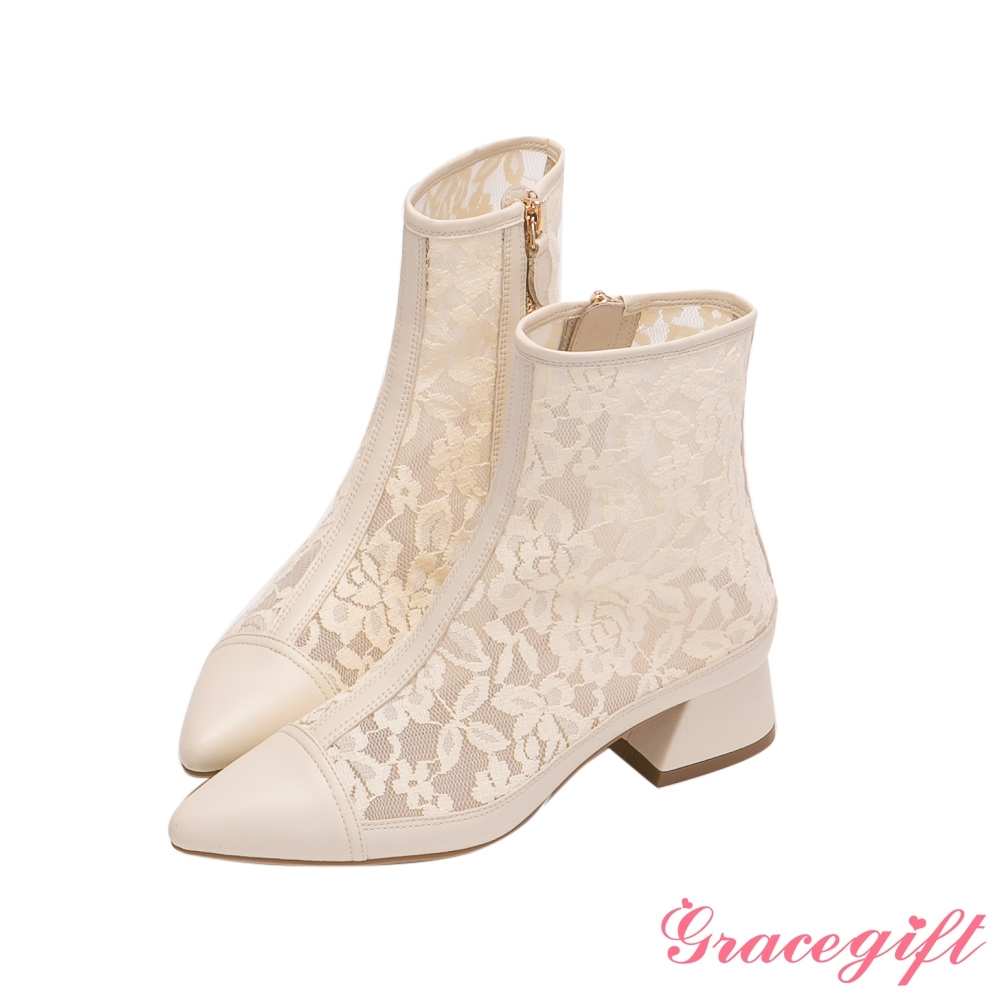 Grace gift X Rui-聯名雕花蕾絲低跟短靴 米白