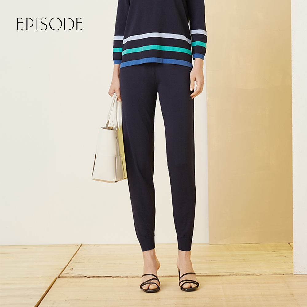 EPISODE - 休閒舒適時尚百搭抽繩束腳褲( 深藍)