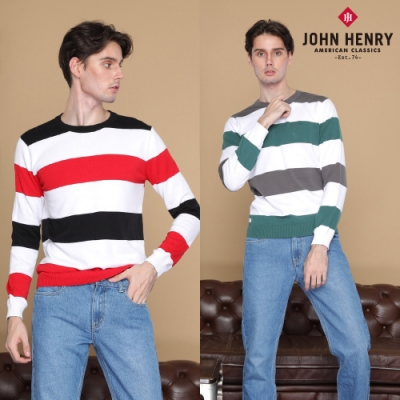 [時時樂限定]【JOHN HENRY】圓領拼接條紋針織衫-兩色選