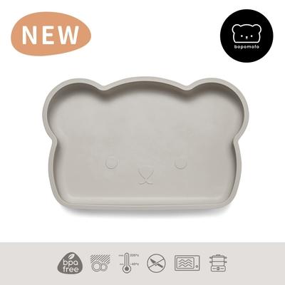 新加坡bopomofo 小熊矽膠吸盤餐具-灰色